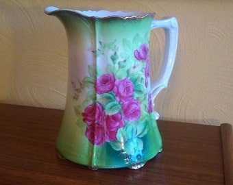 Bavarian Hand Painted Porcelain Pitcher signed K.Clement - 1900's