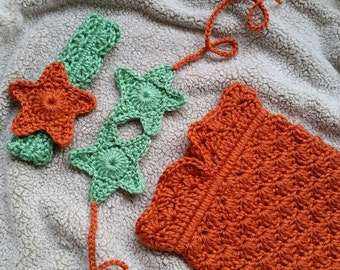 Crochet Baby Mermaid Melody Inspired Rust Orange, Cream, and Green Baby Girl Outfit Costume Photo Prop