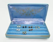 RESERVED for Cindy Vintage Blue Earring Case, Blue Vinyl and Gold Jewelry Hard Case Box, Earring Travel Box, Jewelry Holder, Earring Storage