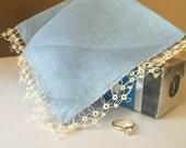 Vintage Linen Bridal Handkerchief Blue Hemstich Tatting Lace