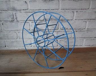 Vintage Metal Spool Empty Blue Wire Spool