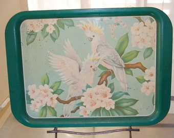 Vintage, metal, tray, bird, parrot, green, yellow