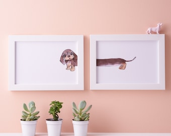 Dachshund Art Print - Sausage dog illustration - Miniature Dachshund Illustration - Doxie Artwork