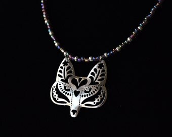 Beaded Flower Fox / Wolf Filigree Necklace, Beaded in Lavender