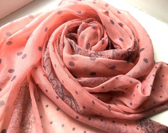 Summer Scarf, Cotton Scarf, Polka dot Scarf,  Girlfriend Gift, Gift For Her, Pink Scarf, Handmade Scarf, Womens Scarves