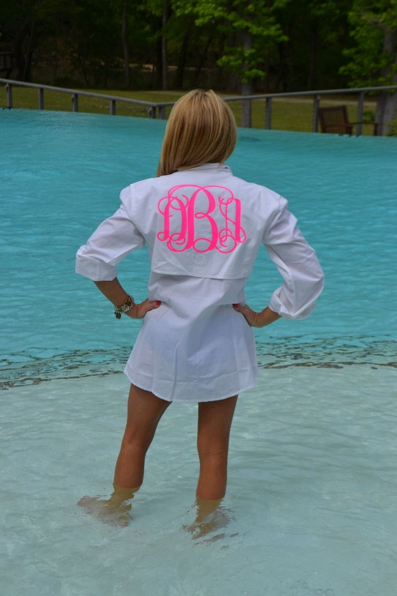 ladies monogrammed fishing shirt   monogrammed sun shirt
