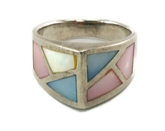 Sterling Silver Enamel Stained Glass Style Ring