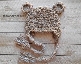 Baby Boy Hats . Baby Boy Bear Hat with earflaps and braids . Fuzzy Teddy Bear Baby Boy Crochet Hat Beanie for Baby Boy. Newborn Photo prop.