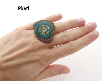 Brown, Green, Turquoise  Polymer Clay Adjustable Asymmetric Ring