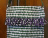 Rag Rug Hip Bag in bands of Green and Grey with speckles of Purple handcrafted in Nicaragua