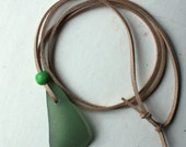 green sea glass surfer necklace beach jewelry wood beads beige light brown cord