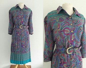 Vintage 80s Paisley Shirtwaister Dress - Breli Originals Psychedelic Belted Dress