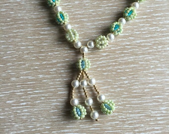 Long Vintage 1960s Beaded Tassel Necklace