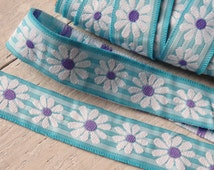 """TWO YARDS of daisy trim in turquoise blue with purple and white floral decoration, floral trim - 1"""" wide daisy ribbon - TWO yards"""