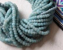 "Indonesian handmade glass beads - AQUA, 24"" strand of glass beads, artisanal beads, ethnic jewelry supplies, pale blue green glass beads"