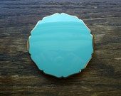 Stratton Powder Compact with Mirror, Aqua Blue and Gold