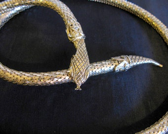 Whiting and Davis Snake Jewelry, Vintage Gold Mesh Necklace Belt, Signed Serpent Head Vintage Snake Belt Metal, Snake Belt Gold Tone 1970s