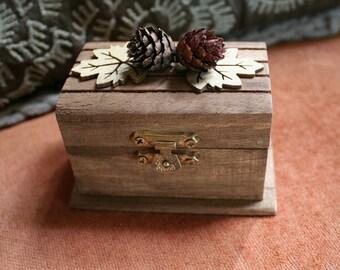 Rustic Wedding Treasure Chest Wood Ring Bearer For A Rustic Theme Wedding - Handmade