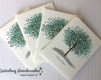 Stampin' Up! Winter/Christmas/Holiday Thank You Cards, Set of 4- Grey, Shades of Blue, White- Winter Sheltering Tree