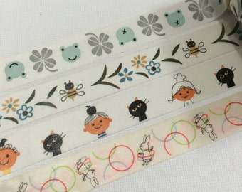 1 Roll of Japanese Washi Tape by Shinzi Katoh (Pick 1)- Frogs, Flowers & Bees, kids and Cat, or Bunny with Hula hoop