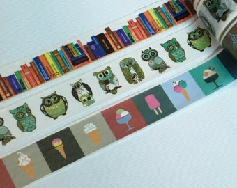1 Roll  Washi Tape(Pick 1) : Books, Owls, Or Ice Cream