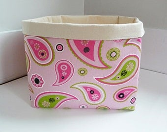 Extra Large Storage Basket Fabric Organizer in Bright Pink and Chartreuse Green Paisley, Girls Room Storage, Nursery, Toy