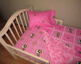 Bright Pink TRACTOR John Deere Fabric Crib Bedding Baby or Toddler Rag Quilt, Sheet and Pillow Case SET