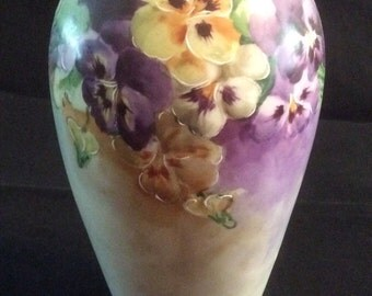 Handpainted Vase with Pansies