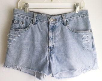High Waisted Levi's Jean Shorts Cutoffs Size 31