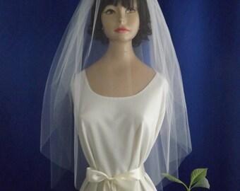 Blusher Wedding Veil 30/36 - Raw Edge - Waist Fingertip Bridal Veil - Two Layers Cascade Plain Veil - White, Diamond White, Ivory