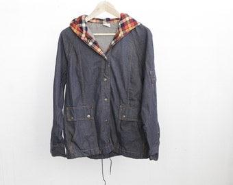 90s denim oxford northwest PARKA PREPPY toggle jacket coat