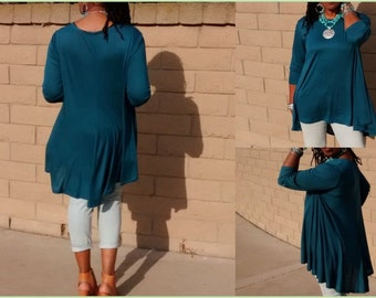 Three Quarter Sleeve Pull Over Jersey Knit Swing Back Tunic In Ivory - All Sizes - Several Color Options
