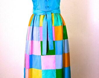 Mod Boho Raw Silk Patchwork Maxi Dress Vintage 60's