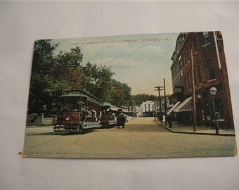 Westerly , Rhode Island   Canal St. and Watch Hill  Real Photo Post Card  Trolley Car  Unused Card