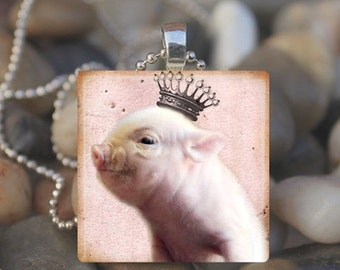 10% OFF VALENTINE SALE : Piglet Princess Piggy Queen Pig Lover Glass Tile Pendant Necklace Keyring