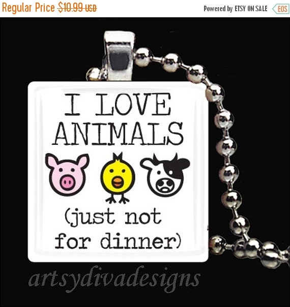 10% OFF SALE : I Love Animals Vegetarian Vegan Glass Tile Pendant Necklace Keyring