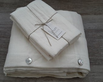 QUEEN LINEN BEDDING - Linen Bed set - white bedding set - duvet cover set - linen bedding set - custom bedding set - bed linen white