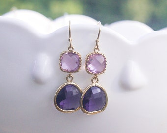 Purple Dangle Earrings in Gold - Dainty Purple Dangles on Gold Filled Earwire - Freesia Purple - Lilac Tanzanite - Bridesmaid Earrings