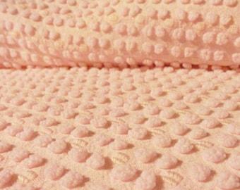 "Ballerina Pink Morgan Jones Reversible Pops Chenille Vintage Bedspread Fabric Piece...12 X  24"""