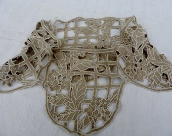 French Vintage , Lace, Linen  Panel , Hand Embroidery, Projects , Small Bed Canopy, Shabby Decor.