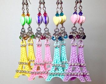 Eiffel tower earrings, Eiffel Tower jewelry, French gift, Paris Jewelry, macaron earrings, macaron jewelry, Pastel earrings