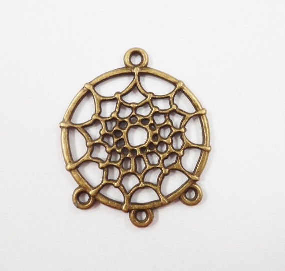 Bronze Spiderweb Earring Connectors 32x27mm Antique Brass Dreamcatcher Earring Findings, 3 to 1 Connector Pendants, Jewelry Findings, 6pcs