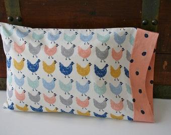 Organic Toddler Pillowcase, Toddler Pillowcase, Travel Pillowcase, Pillowcase, Organic, Chickens, Pink, Blue, Yellow: Farmstead