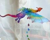 Single Dragon Mobile, Iridescent transparent rich colour Hanging dragon, 12 colours available
