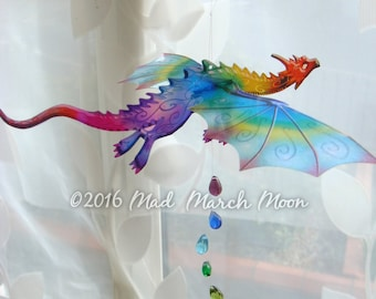 Single Dragon Mobile, Iridescent transparent rich colour Hanging dragon, 12 colours available
