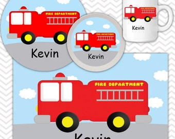 Fire Truck Plate & Bowl Set - Personalized Fire Truck Plate Set - Customized Plate and Bowl - Melamine Plate and Bowl Set for Kids