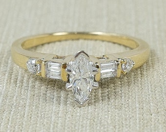 Sparkling Pretty 14K Yellow Gold 0.33ctw Marquise, Baguette, Round Natural Diamond Accented Engagement Ring Size 5.5 FREE SHIPPING!
