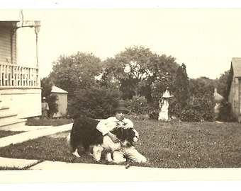 1900-Uncle Gordon With Dog on the Lawn