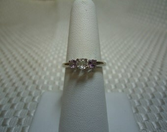 Rose Quartz and Amethyst 3-Stone Ring in Sterling Silver   #1686