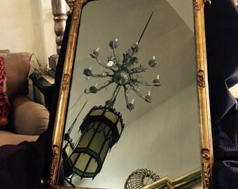 Gold Pediment Mirror with Shell,Decorative MIrrors,Wall mirror Vintage mirror .